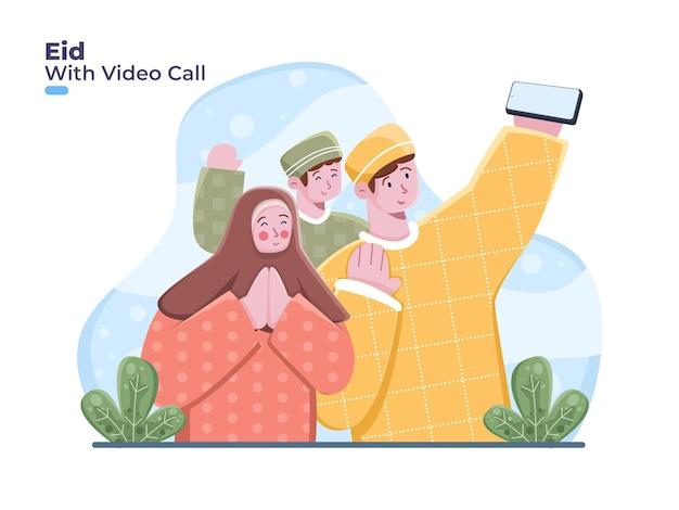 Família muçulmana usa smartphone para videochamadas. cumprimentando eid mubarak
