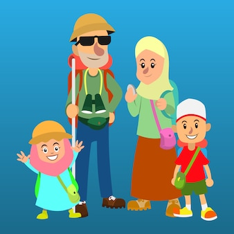Família muçulmana usando mochila vai explorar o vetor de desenhos animados