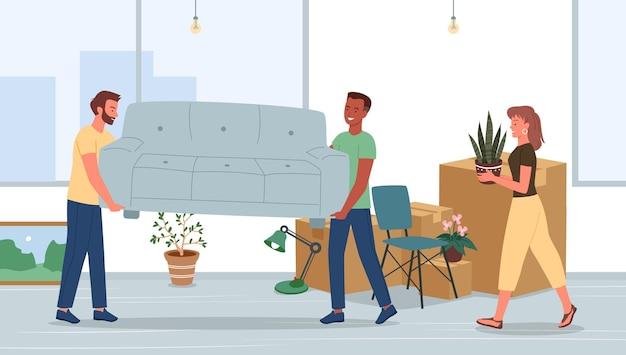 Família muda-se para uma nova casa ou ilustração de apartamento.