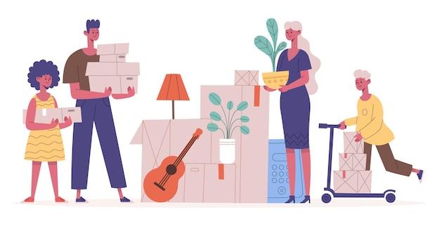 Família mudando de casa. mãe, pai e filhos mudando de apartamento, carregando caixas com ilustração vetorial de utensílios domésticos. dia da mudança de realocação