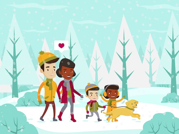 Família multiétnica andando na floresta de inverno nevado.