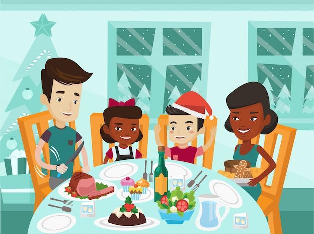 Família multiétnica, comemorando o dia de natal.
