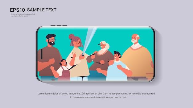 Família multigeracional usando bastão de selfie tirando foto na câmera da tela do smartphone cópia espaço retrato horizontal ilustração vetorial