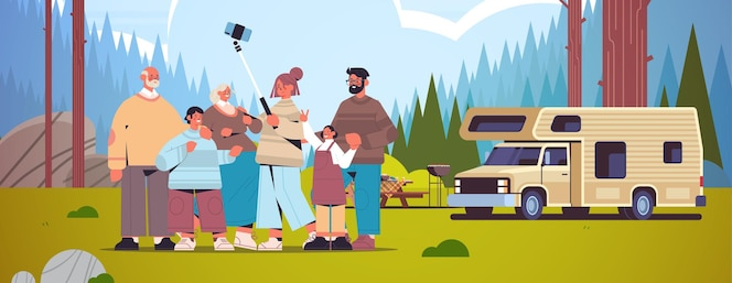 Família multigeracional usando selfie stick e tirando fotos na câmera do smartphone perto de camping trailer camping paisagem fundo horizontal ilustração vetorial de comprimento total