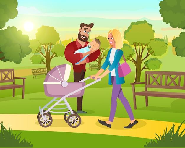 Família na caminhada no parque com a criança no ar fresco