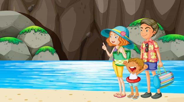 Família na cena da praia