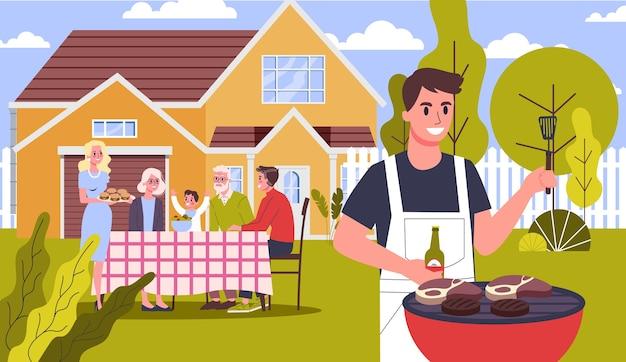Família na festa de churrasco no quintal da casa, sorrindo e comendo. cozinhar saboroso churrasco na grelha com a família e amigos. ilustração