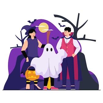 Família na ilustração do halloween flat