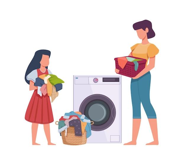 Família na lavanderia. mãe e filha carregando vestidos na máquina de lavar, roupas de pilha com manchas, roupas sujas trabalho doméstico vetor plana cartoon conceito isolado