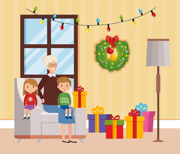 Família na sala de estar com decoração de natal