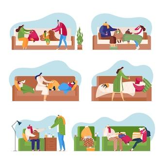 Família na temporada de gripe, conjunto isolado de pessoas doentes de febre fria ilustração.