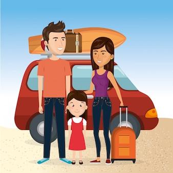 Família nas férias de verão na praia