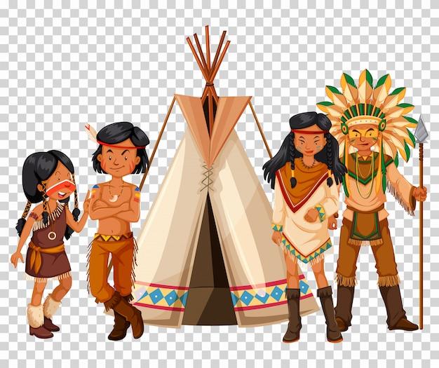Família nativa americana e tenda
