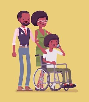 Família negra com filho deficiente