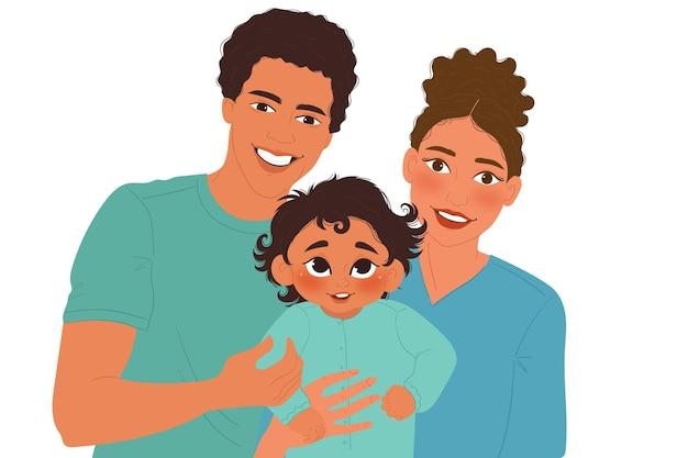 Família negra desenhada à mão plana com ilustração de um bebê