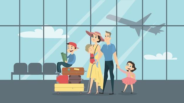 Família no aeroporto com crianças e bagagem.
