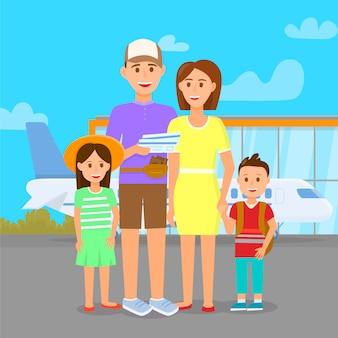 Família no aeroporto no fundo da área ao ar livre. viagem