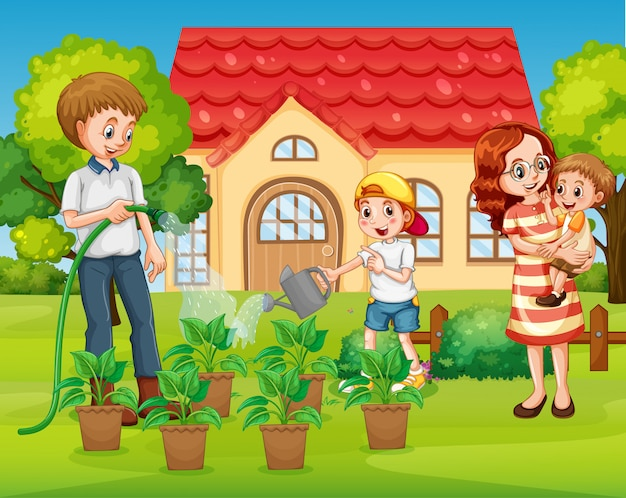 Família no jardim da frente