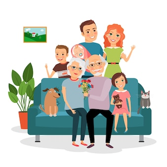 Família no sofá. pai e mãe, bebê, filho e filha, gato e cachorro, avô e avó. ilustração vetorial