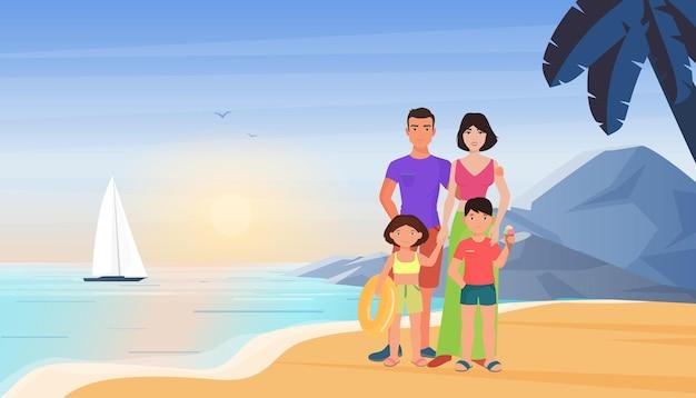 Família no verão, mar, praia, férias, mãe, pai e filhos, juntos