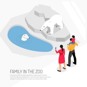 Família no zoológico durante a observação de ursos polares em branco isométrico