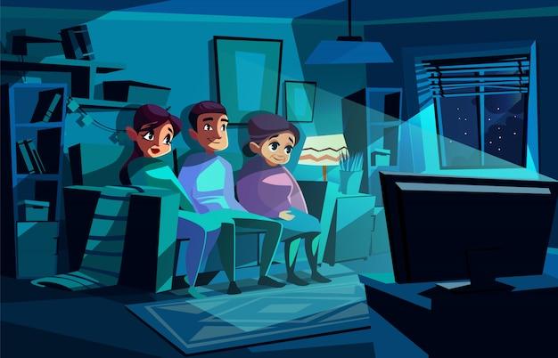 Família, observar, noturna, tv, ilustração, de, par homem, e, mulher, sentar-se sofa