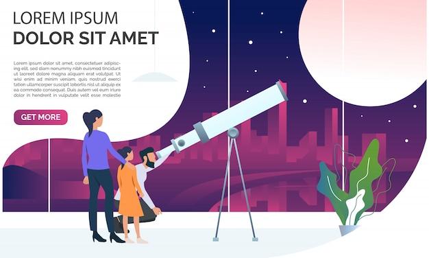 Família olhando a lua através do telescópio