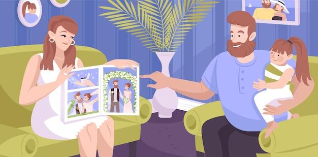 Família olhando álbum de fotos de casamento