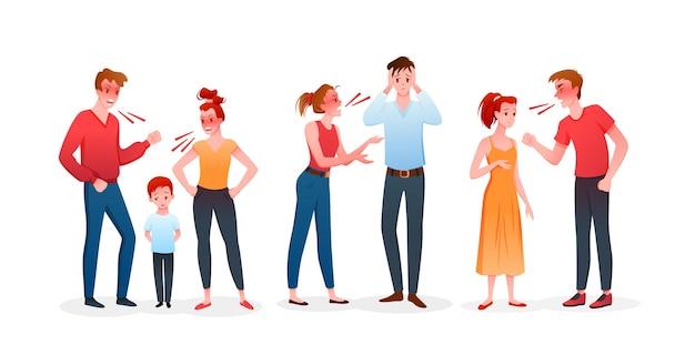 Família ou casal briga conjunto de ilustração. homem e mulher zangados de desenho animado discutem