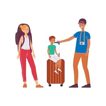 Família - pai, mãe e filho viajam ilustração dos desenhos animados isolada.