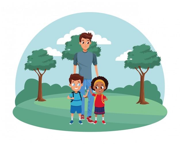 Família pai solteiro com filhos