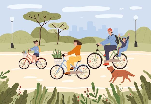 Família, pais e filhos andando de bicicleta família ativa, ciclismo em ilustração vetorial de parque da cidade