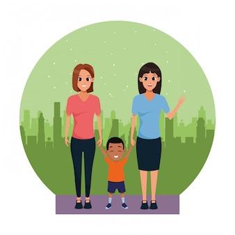 Família, par mulher, com, pequeno, menino