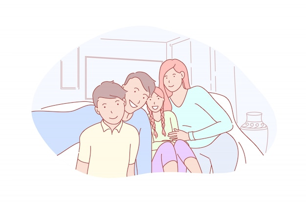 Família, paternidade, infância, ilustração de selfie
