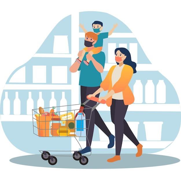 Família pequena fazendo compras juntas em ilustração de mercearia