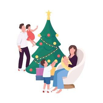 Família perto da árvore de natal em casa personagens sem rosto de cor lisa