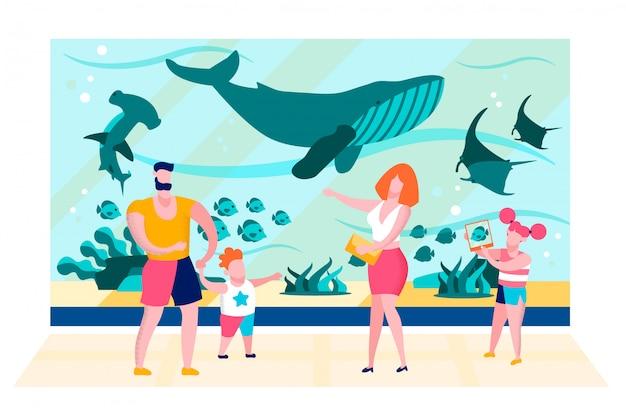 Família perto de oceanarium aquarium glass flat vector