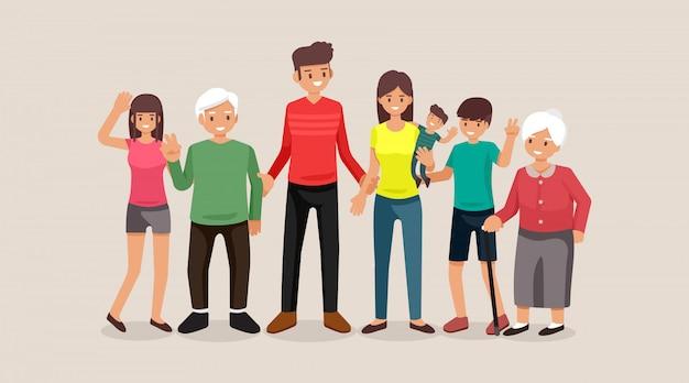 Família, pessoas, mãe e pai com bebês, filhos e avós, design plano de ilustração