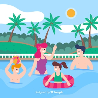 Família plana, aproveitando as férias de verão