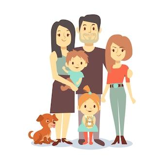 Família plana com animais de estimação isolado no fundo branco
