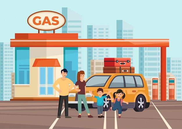 Família plana feliz dos desenhos animados de fours com próprio carro