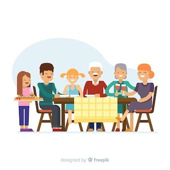 Família plana, sentados ao redor da ilustração da mesa