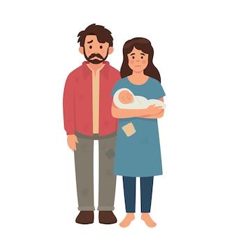 Família pobre jovem, pai, mãe e bebê em mau estado