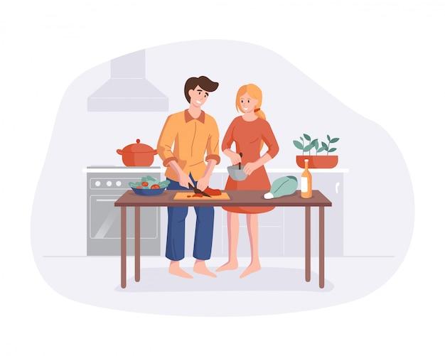 Família prepara o jantar juntos na mesa da cozinha. pais sorrindo enquanto cozinhava na cozinha em casa. personagem de desenho animado de homem e mulher fazendo o almoço.