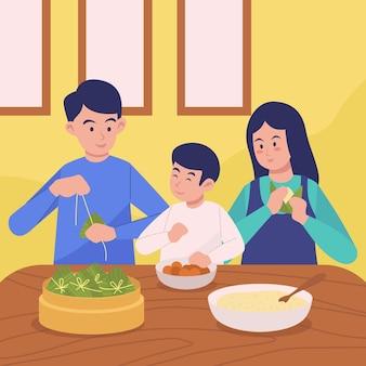 Família preparando e comendo arroz zongzi