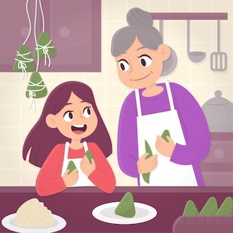 Família preparando e comendo zongzi ilustrado
