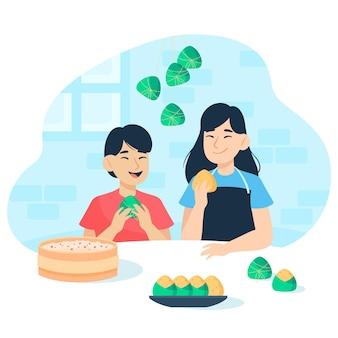 Família preparando e comendo zongzi