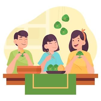Família preparando zongzi
