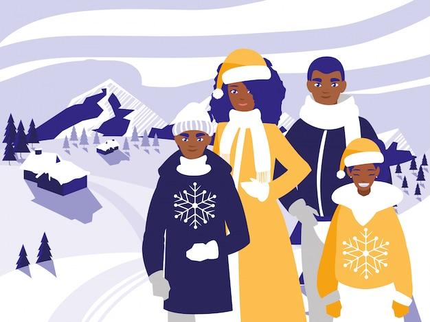 Família preto com roupas de natal na paisagem de inverno