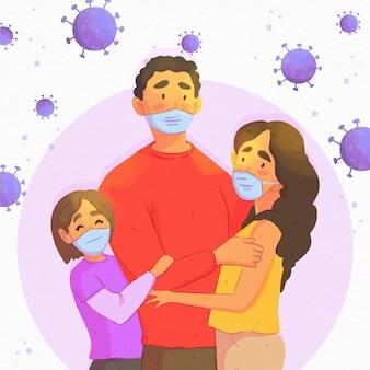 Família protegida contra infecção por vírus